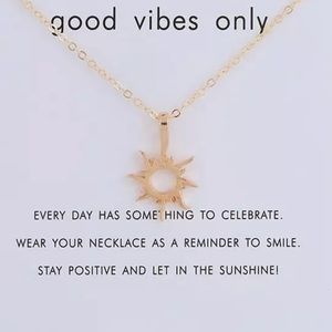 Good Vibes Only sun gold tone necklace